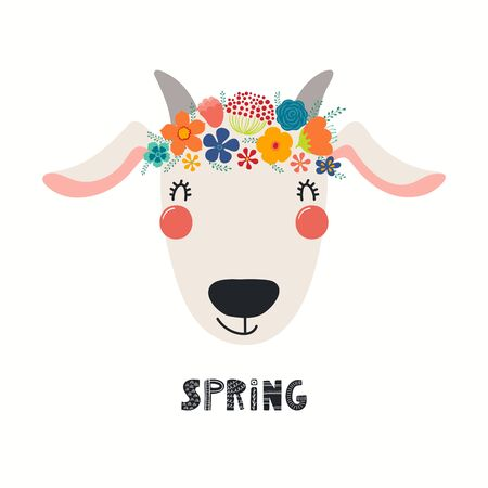 Hand drawn vector illustration of a cute goat face in a flower crown, with lettering quote Spring. Isolated objects on white. Scandinavian style flat design. Concept for children print. 向量圖像