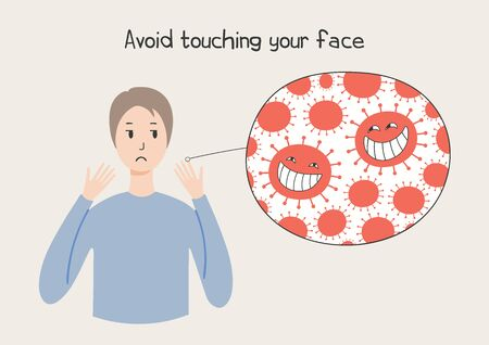 Coronavirus epidemic concept. Woman looking at her hands and cartoon virus, text Avoid touching face, isolated. Vector illustration. Poster, flyer. Flat style design. Covid-19 protection, prevention. Illustration