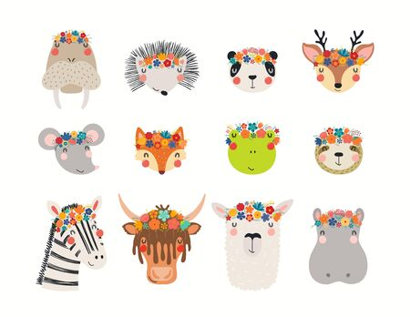 Big set with cute funny animals in flower crowns. Hand drawn vector illustration. Isolated objects on white background. Scandinavian style flat design. Concept for children spring, summer print.