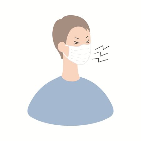 Coronavirus epidemic information concept. Sick person in a mask displaying one of Covid-19 symptoms, cough, isolated on white. Hand drawn vector illustration. Poster, flyer. Flat style design.