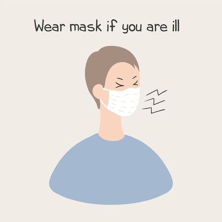 Coronavirus epidemic concept. Sick person with a cough wearing a face mask, isolated. Hand drawn vector illustration. Poster, flyer. banner element. Flat style design. Covid-19 protection, prevention.