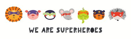 Banner, card with cute funny animals in masks, quote We are superheroes. Hand drawn vector illustration. Isolated objects on white background. Scandinavian style flat design. Concept for kids print. 向量圖像