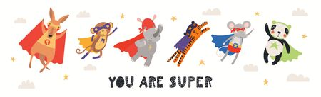 Banner, card with cute animal superheroes flying, quote You are super. Hand drawn vector illustration. Isolated objects on white background. Scandinavian style flat design. Concept for children print. Illustration
