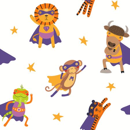 Hand drawn seamless vector pattern with cute animal superheroes, on a white background. Scandinavian style flat design. Concept for children textile print, wallpaper, wrapping paper, packaging.