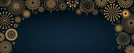 Vector illustration with bright golden fireworks frame on a dark blue background, space for text. Flat style design. Concept for holiday celebration, greeting card, poster, banner, flyer. Vetores