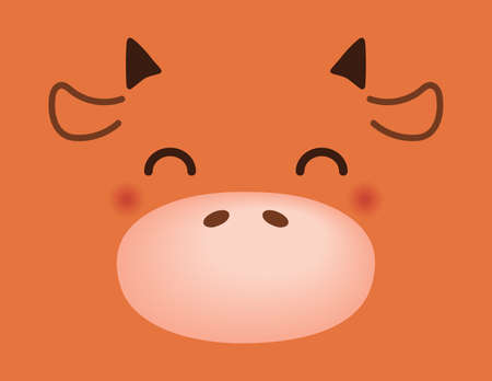 2021 Chinese New Year vector illustration with cute funny cartoon ox face. Flat style design. Concept for holiday card, banner, poster, decor element, print, zodiac sign. Illusztráció