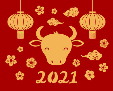 2021 Chinese New Year vector illustration with cute ox silhouette, lanterns, clouds, flowers, typography, gold on red. Flat style design. Concept for holiday card, banner, poster, decor element.