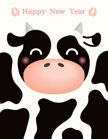 2021 Chinese New Year vector illustration with cute black and white ox face, hoof prints, typography. Flat style design. Concept for holiday card, banner, poster, decor element.