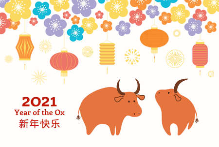 2021 Chinese New Year vector illustration with cute oxen, lanterns, fireworks, flowers, Chinese typography Happy New Year. Flat style design. Concept for holiday card, banner, poster, decor element.