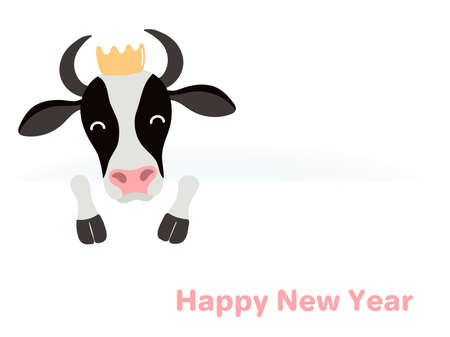 2021 New Year vector illustration with cute cartoon black and white ox in a crown, face and legs, typography, on white. Flat style design. Concept for holiday card, banner, poster, decor element.