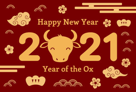 2021 Chinese New Year vector illustration with ox face silhouette, flowers, clouds, typography, gold on red background. Flat style design. Concept for holiday card, banner, poster, decor element.