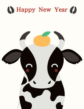 2021 Chinese New Year vector illustration with cute black and white ox, mandarin orange, hoof prints, typography. Flat style design. Concept for holiday card, banner, poster, decor element.