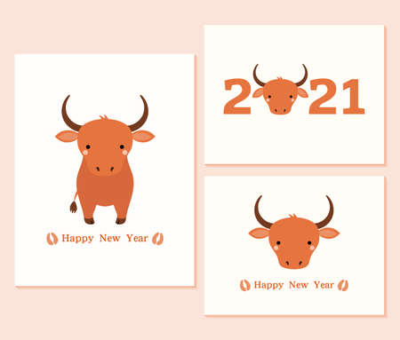 Set of 2021 Chinese New Year cards with cute oxen, hoof prints, typography. Vector illustration. Flat style design. Concept for holiday card, banner, poster, decor element.