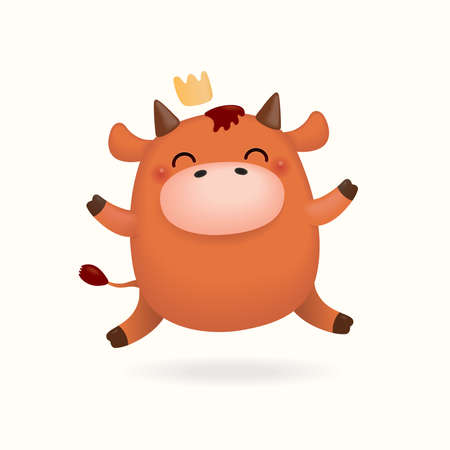 2021 Chinese New Year vector illustration of a cute happy little ox in a crown, isolated on white. Hand drawn cartoon clipart. Design concept zodiac sign, holiday card, banner, poster, decor element. Illustration