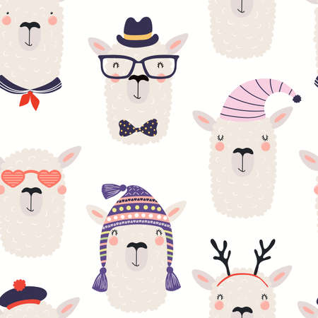 Cute funny llama faces in hats and glasses seamless pattern, on a white background. Hand drawn vector illustration. Scandinavian style flat design. Concept for kids textile, fashion print, wallpaper. Ilustração