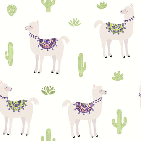 Cute llama and cactus seamless pattern, animals and plants on a white background. Hand drawn vector illustration. Scandinavian style flat design. Concept for kids textile print, wallpaper, packaging.