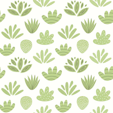 Green plants on white seamless floral pattern. Shrubs, bushes, botanical background. Hand drawn vector illustration. Scandinavian style flat design. Concept for kids textile, fashion print, wallpaper. Ilustração