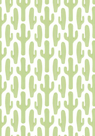 Green cactus on white seamless floral pattern, botanical background. Hand drawn vector illustration. Scandinavian style flat design. Concept for kids textile, fashion print, wallpaper, packaging.