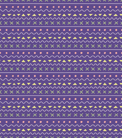 Seamless geometric pattern with dots, stripes, triangles, violet, yellow, green, pink. Hand drawn vector illustration. Scandinavian style flat design. Concept for kid textile print, wallpaper, package