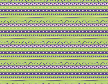 Seamless geometric pattern with dots, stripes, triangles, violet, yellow, green. Hand drawn vector illustration. Scandinavian style flat design. Concept for kids textile print, wallpaper, packaging. Ilustração