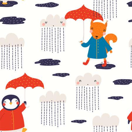 Cute animals, autumn rain seamless pattern. Penguin, squirrel with umbrellas. Hand drawn vector illustration. Scandinavian style flat design. Concept kids textile, fashion print, wallpaper, packaging.
