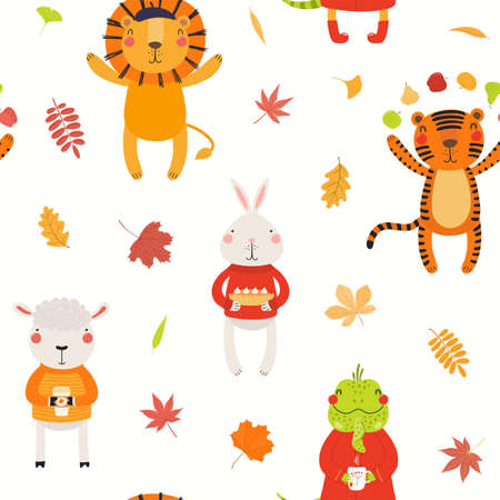 Cute animals in autumn seamless pattern with falling leaves, on white. Hand drawn vector illustration. Scandinavian style flat design. Concept for kids textile, fashion print, wallpaper, packaging.