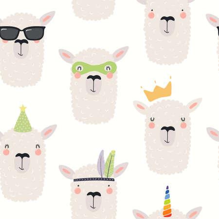 Cute llama faces seamless pattern, unicorn, princess, superhero, on a white background. Hand drawn vector illustration. Scandinavian style flat design. Concept kids textile, fashion print, wallpaper.