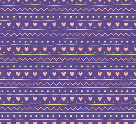 Seamless geometric pattern with dots, stripes, hearts, violet, yellow, green, pink. Hand drawn vector illustration. Scandinavian style flat design. Concept for kids textile print, wallpaper, packaging Ilustração