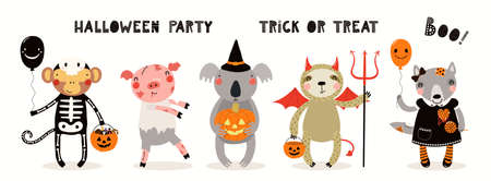 Kids Halloween illustration, cute animals in party costumes, trick or treating. Hand drawn vector. Isolated on white. Scandinavian style flat design. Concept for children print, banner, card, invite.