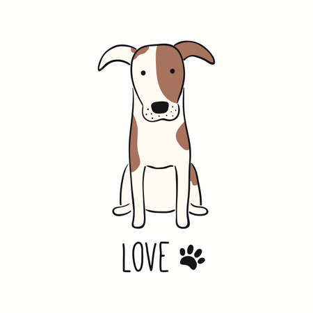 Cute funny fox terrier dog, puppy, quote Love, paw print. Hand drawn color vector illustration, isolated on white.