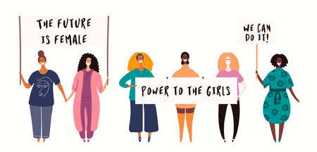 Diverse women group on a protest, holding different placards, banners with copy space. Hand drawn vector illustration, isolated on white. Flat style design. Concept for feminism, gender equality.