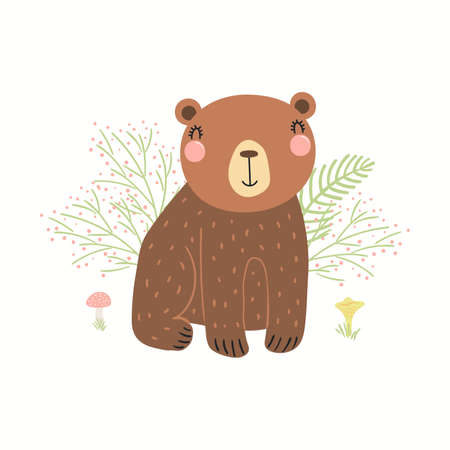 Cute funny bear, grasses, mushrooms, isolated on white. Hand drawn wild animal vector illustration. Scandinavian style woodland. Flat design. Concept for kids fashion, textile print, poster, card