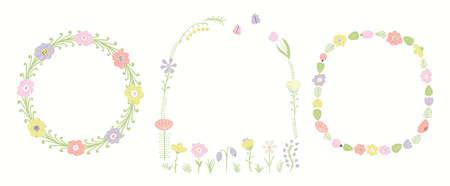 Wild flowers, grasses, ferns decorative floral frames set, isolated on white. Hand drawn vector illustration. Clipart elements collection. Scandinavian style flat design. Concept for kids print