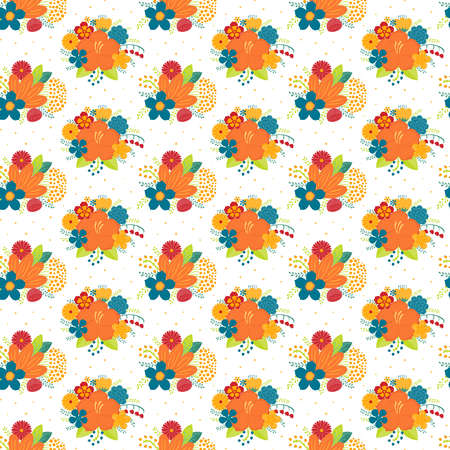 Bright tropical flowers floral seamless pattern on a white background. Hand drawn vector illustration. Scandinavian style design. Concept for kids textile, fashion print, wallpaper, packaging.