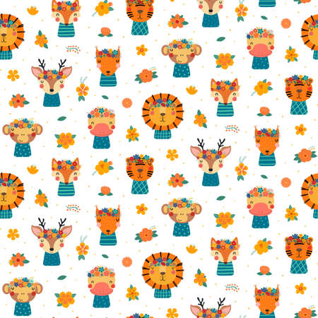 Cute animals faces in flower crowns seamless pattern on a white background. Hand drawn vector illustration. Scandinavian style flat design. Concept for kids textile, fashion print, wallpaper, package.