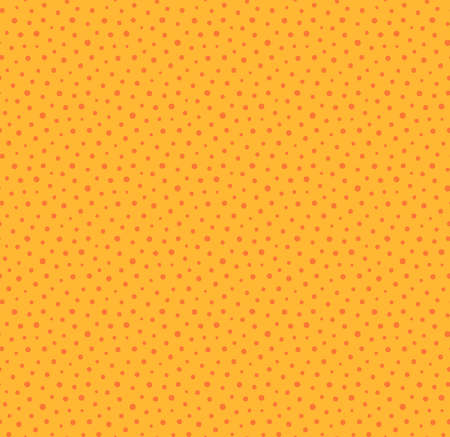Small dots simple seamless geometric pattern, yellow, orange background. Hand drawn vector illustration. Childish texture. Design concept for kids fashion print, textile, fabric, wallpaper, packaging.
