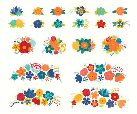 Tropical flowers, leaves floral compositions set, isolated on white. Hand drawn vector illustration. Exotic bouquets, arrangements. Summer clipart elements collection. Flat style design concept