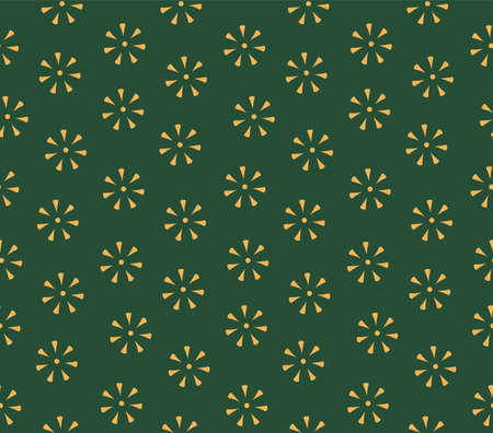 Simple stamped flowers floral seamless pattern, digital texture, gold on green background. Vector illustration. Design concept for minimalist textile print, packaging, wrapping paper. Flat style.