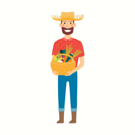 Funny cartoon farmer holding basket with vegetables, isolated on white. Hand drawn vector illustration. Modern style flat design. Harvest, seasonal produce, market, gardening, agriculture concept.