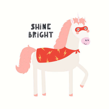 Cute funny unicorn superhero in mask, cape, quote Shine bright, isolated on white. Hand drawn vector illustration. Scandinavian style flat design. Concept kids fashion, textile print, poster, card.
