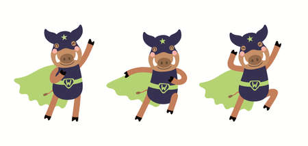 Cute funny wild boar superhero in mask illustrations set, flying, running, isolated on white. Hand drawn vector. Scandinavian style flat design. Concept for kids fashion, textile print, poster, card.