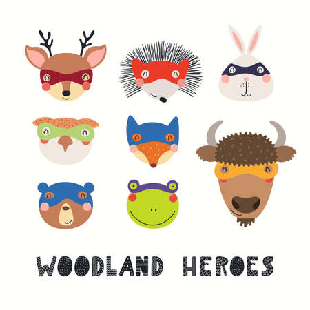 Cute woodland animal superheroes faces in masks collection, isolated on white. Hand drawn vector illustration. Scandinavian style flat design. Concept for kids fashion, textile print, poster, card. Stock Illustratie