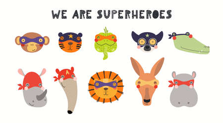 Cute exotic animal superheroes faces in masks collection, isolated on white. Hand drawn vector illustration. Scandinavian style flat design. Concept for kids fashion, textile print, poster, card. Stock Illustratie