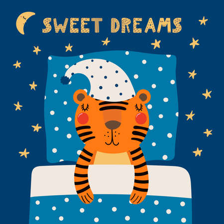 Cute funny sleeping tiger in nightcap, with pillow, blanket, quote Sweet dreams. Hand drawn vector illustration. Scandinavian style flat design. Concept for kids fashion, textile print, poster, card.
