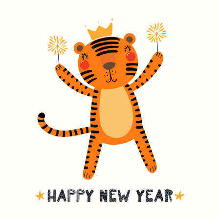 Cute funny cartoon tiger in crown, with sparklers, quote Happy New Year, isolated on white. Hand drawn vector illustration. Scandinavian style flat design. Concept for kids holiday card, print, poster