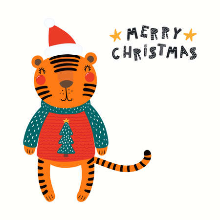 Cute funny tiger in ugly sweater, Santa Claus hat, quote Merry Christmas, isolated on white. Hand drawn vector illustration. Scandinavian style flat design. Concept kids holiday card, print, poster.
