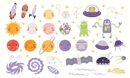 Cute space clipart set, planets, stars, spaceship, aliens, isolated on white. Hand drawn vector illustration. Scene creator, elements collection. Scandinavian style flat design. Concept for kids print Stock Illustratie