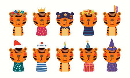 Cute tiger big set, sailor, superhero, princess, unicorn, Christmas, witch, flowers, birthday hat, isolated on white. Hand drawn vector illustration. Scandinavian style flat design. Kids print concept Stock Illustratie