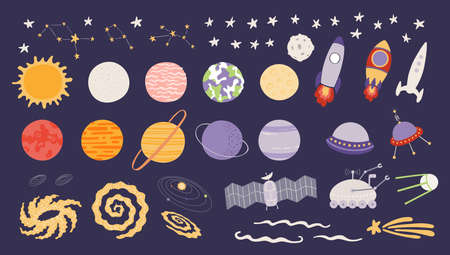 Cute space clipart set, Solar system planets, stars, spaceships, isolated. Hand drawn vector illustration. Scene creator, elements collection. Scandinavian style flat design. Concept for kids print