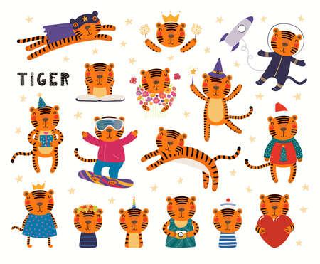 Cute tiger big set, astronaut, sailor, superhero, princess, unicorn, witch, Christmas, reading, isolated on white. Hand drawn vector illustration. Scandinavian style flat design Kids print concept